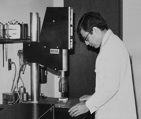 Robert Soloff with Ultrasonic Welding Press 1960's